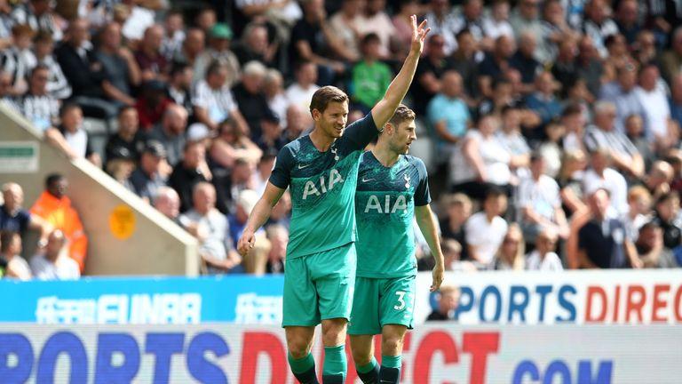 Jan Vertonghen celebrates after putting Tottenham ahead