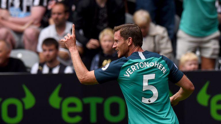Tottenham's Jan Vertonghen celebrates his opening goal
