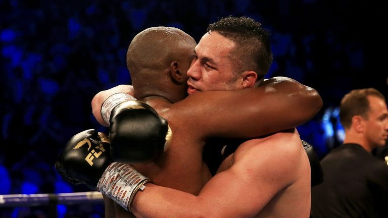 Parker embraced Whyte after their punishing fight at The O2