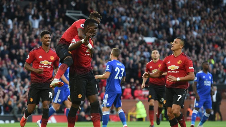 Paul Pogba fired Manchester United into a third-minute lead against Leicester from the penalty spot