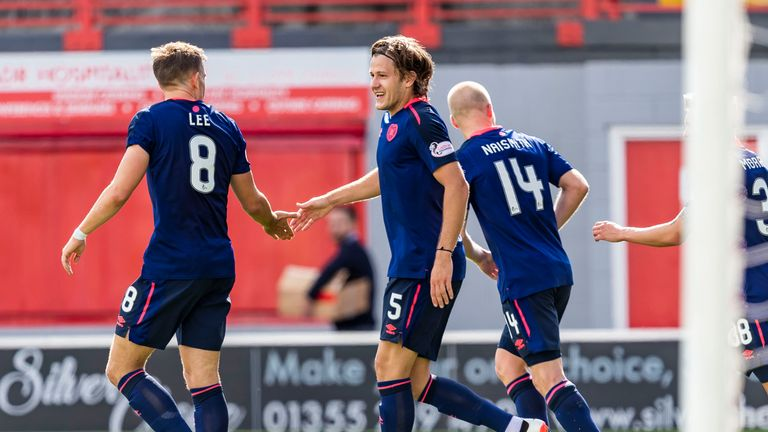Peter Haring celebrates after scoring to make it 3-1 to Hearts against Hamilton last weekend