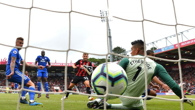 Ryan Fraser scores the opening goal of the game at the Vitality Stadium