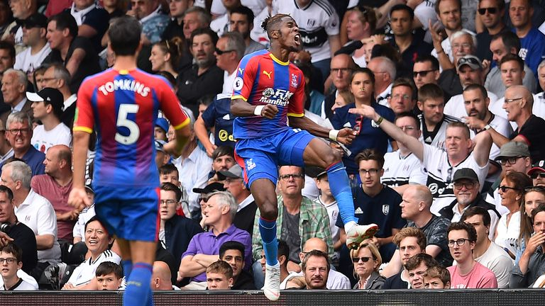 Wilfried Zaha celebrates doubling Crystal Palace's lead