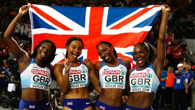 Imani Lansiquot (second left) ended the Europeans with a relay gold
