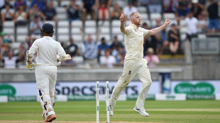 Ben Stokes celebrates taking a wicket against India