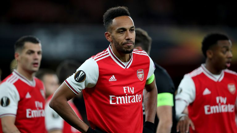 LONDON, ENGLAND - NOVEMBER 28: Pierre-Emerick Aubameyang of Arsenal during the UEFA Europa League group F match between Arsenal FC and Eintracht Frankfurt at Emirates Stadium on November 28, 2019 in London, United Kingdom. (Photo by Marc Atkins/Getty Images)