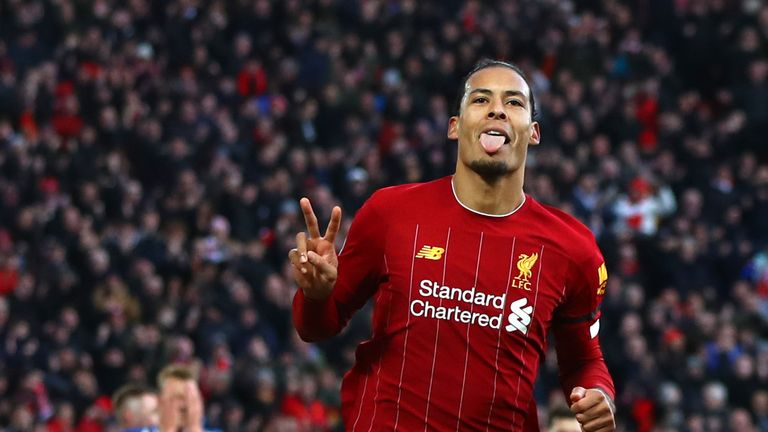 Virgil van Dijk scored twice as Liverpool beat Brighton