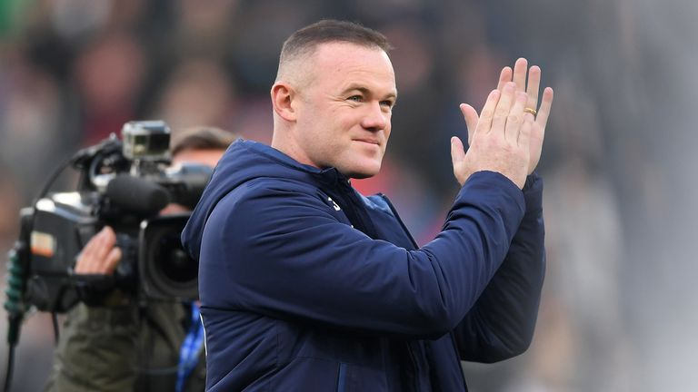 Wayne Rooney of Derby County acknowledges the fans prior to the Sky Bet Championship match between Derby County and Queens Park Rangers at Pride Park Stadium on November 30, 2019 in Derby, England.