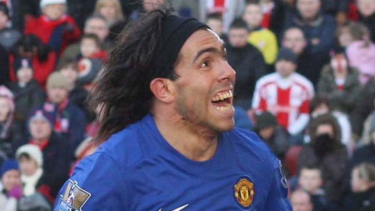 83rd minute: Carlos Tevez celebrates scoring for Manchester United.