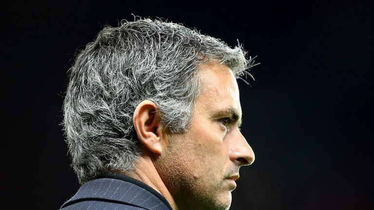 Jose Mourinho walks out at Old Trafford ahead of the clash between Man United and Inter.