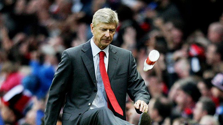 Wenger kicks a water bottle when Arsenal have a last minute goal ruled out for offside.