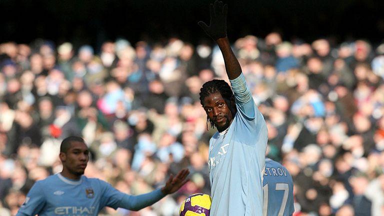Emmanuel Adebayor breaks the offside trap to put City in front on 40 minutes