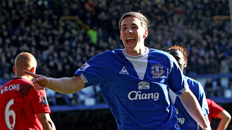 Dan Gosling celebrates putting Everton in front after 76 minutes