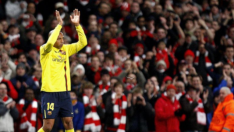 Henry applauds the Arsenal supporters at full-time