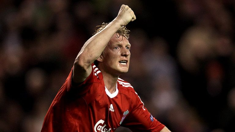 Dirk Kuyt wheels away after scoring the opening goal for Liverpool