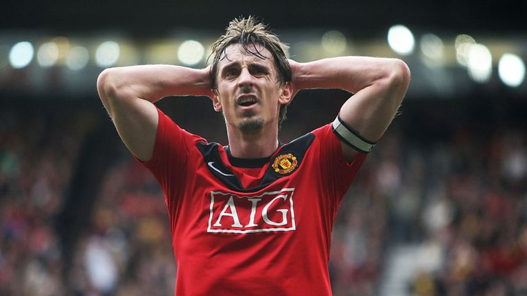 Gary Neville reacts at full-time as Manchester United lose to Chelsea
