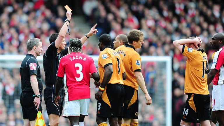 Karl Henry is sent-off in the 66th minute after a challenge on Rosicky