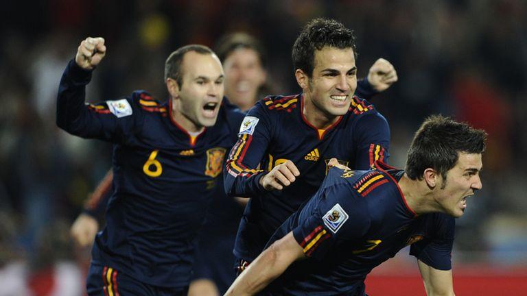 Spain celebrate Villa goal