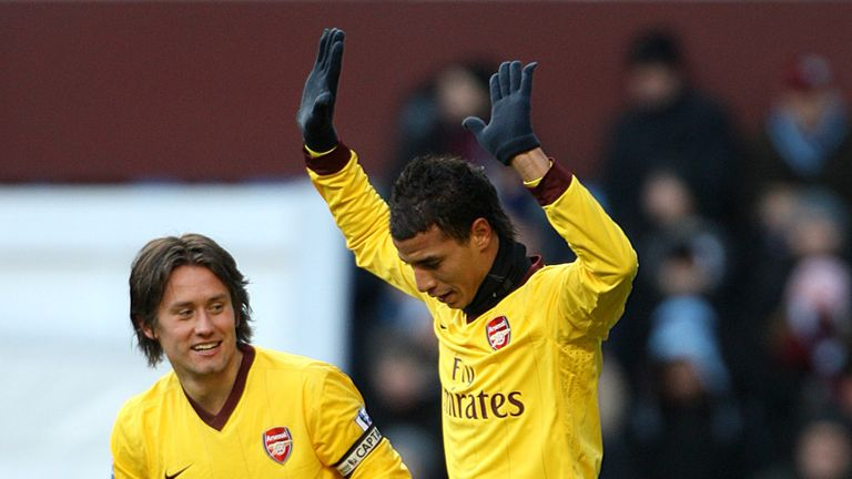 Marouane Chamakh celebrates Arsenals third goal at Villa Park
