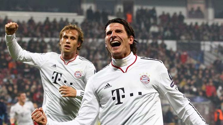 Bayern Munichs Mario Gomez celebrates after netting the opener against Cluj.