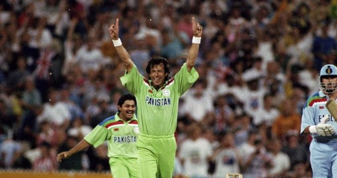 Imran Khan celebrates as Pakistan beat England in their last World Cup final appearance in 1992