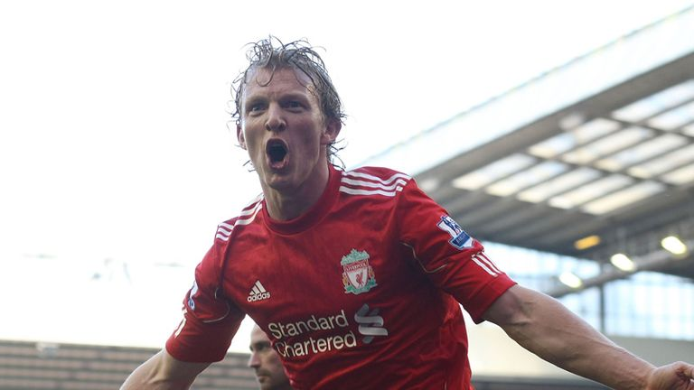 Dirk Kuyt celebrates his hat-trick for Liverpool