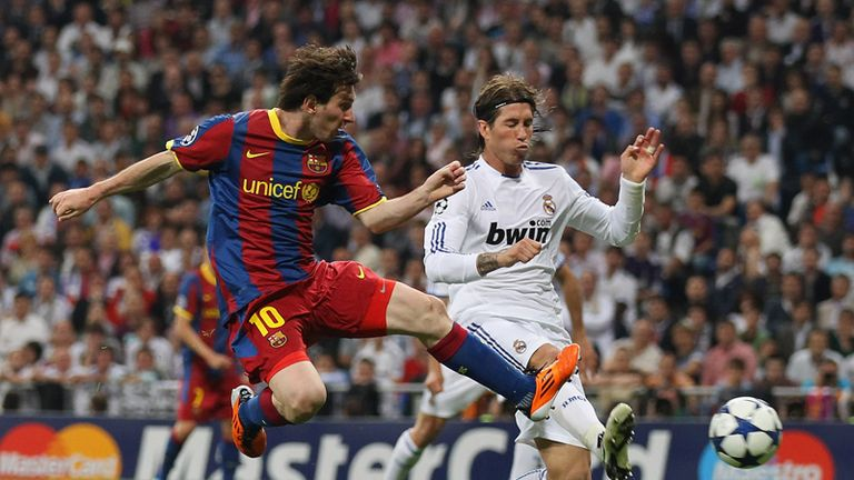 Lionel Messi gets a toe on a cross from Ibrahim Afellay