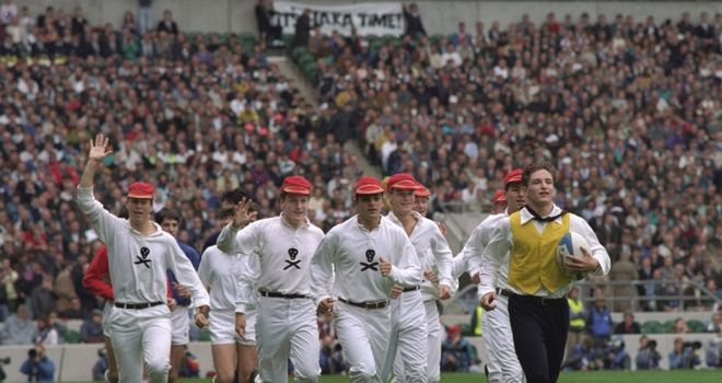 The 1991 opening ceremony, with players recreating the birth of rugby
