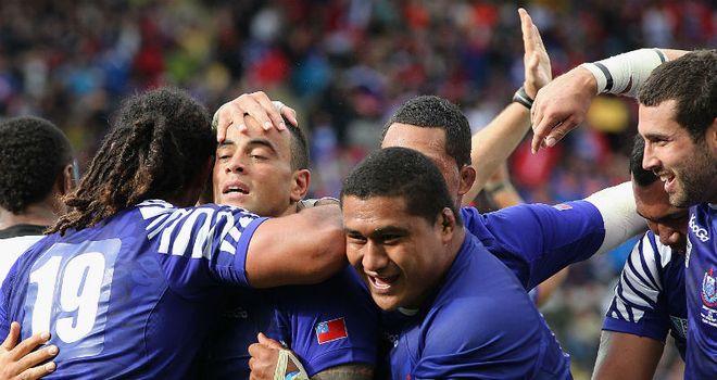 Samoa celebrate Kahn Fotuali'i's try