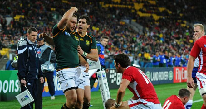Francois Steyn celebrates his try
