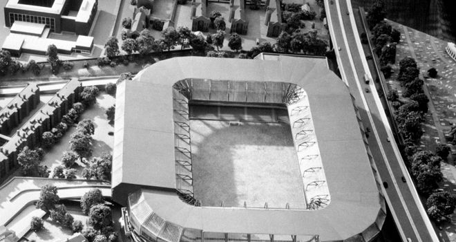 A model  of the proposed redevelopment in 1972 - only the East Stand (left) was built
