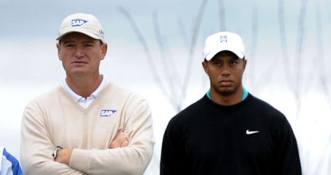 Ernie Els (left): Not jumping on the 'Tiger is back' bandwagon
