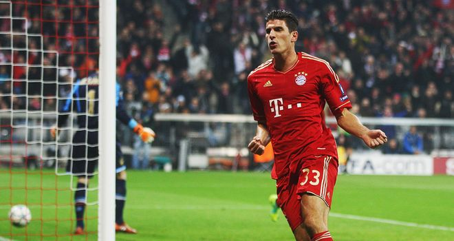 Mario Gomez: Scored first-half hat-trick to fire Bayern to victory
