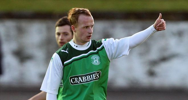Griffiths: Celebrates his goal for Hibs