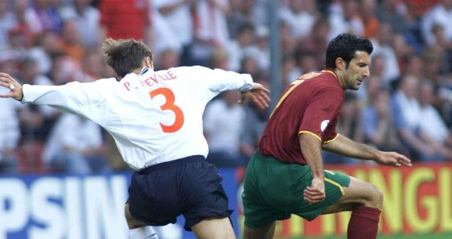 Figo inspired Portugal to a 3-2 victory over England at Euro 2000