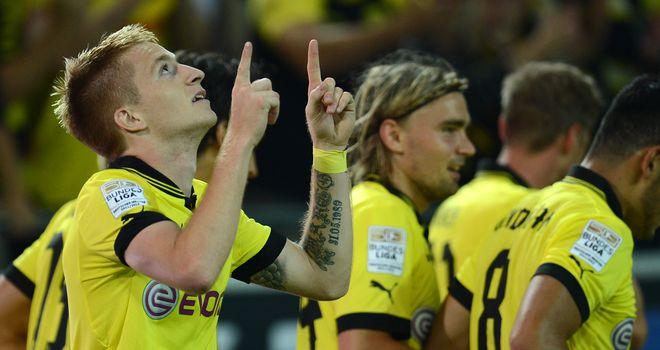 Marco Reus celebrates his opener for Dortmund