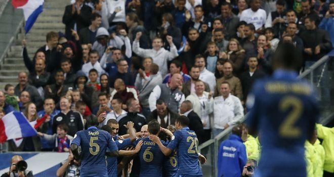 France enjoy Christophe Jallet's goal.