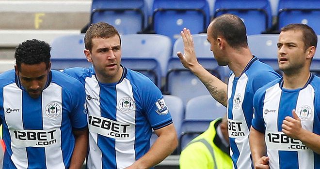Wigan Athletic v Stoke City: The Latics celebrate their opening goal of the game