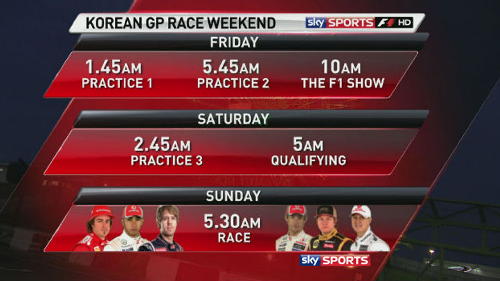 Sky Sports F1's Korean GP schedule