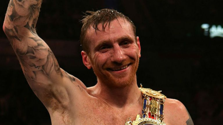 Kenny Anderson celebrates his 5th round win over Robin Reid at the Motorpoint Arena, Sheffield.
