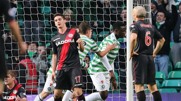 Victor Wanyama: Congratulated after netting Celtic's first