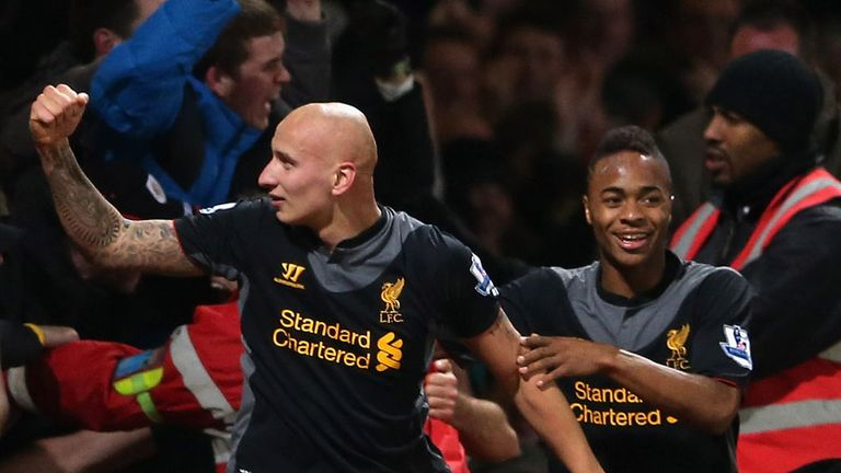 Jonjo Shelvey: Celebrates being involved in Liverpool's winner