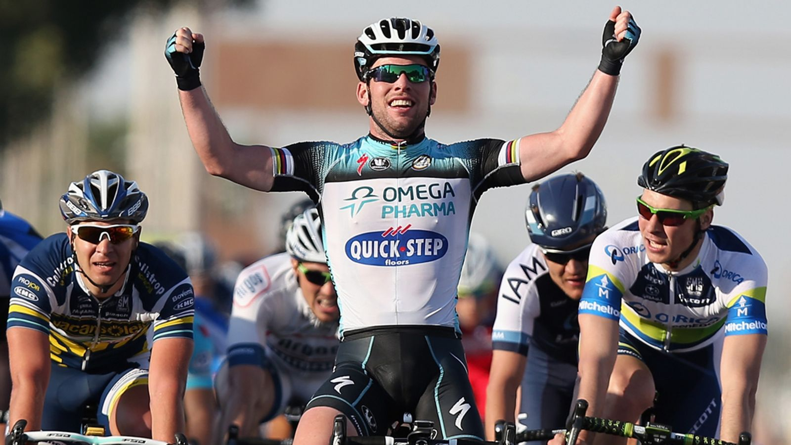 Mark Cavendish sprints to victory on stage three of the Tour of Qatar