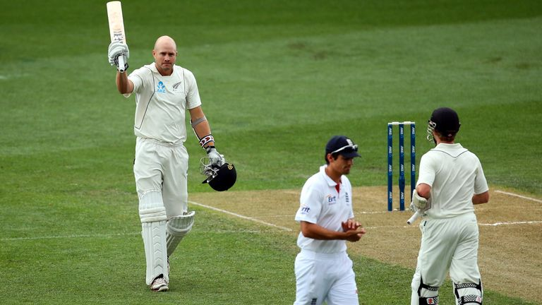 Peter Fulton raises his bat after his maiden Test century