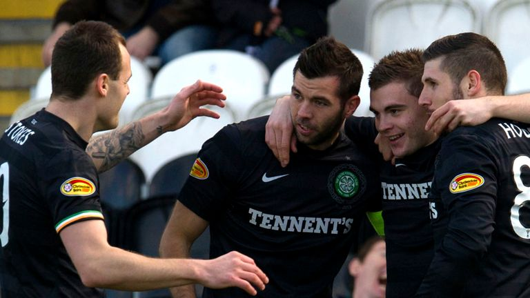 Celtic celebrate their progress to the semi-finals of the Scottish Cup