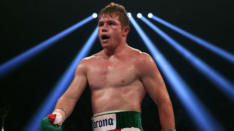 Canelo Alvarez reacts after knocking out Josesito Lopez during their WBC super welterweight title fight at MGM Grand Garden Arena on September 15, 2012 in Las Vegas