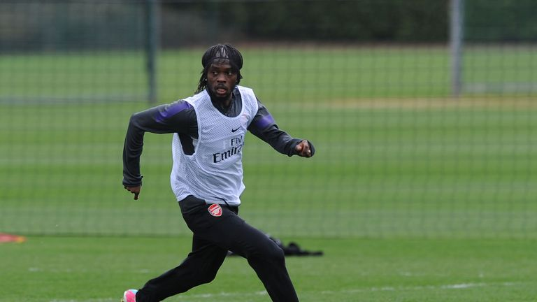 Gervinho of Arsenal during a training session at London Colney