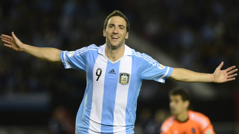 Argentine forward Gonzalo Higuain celebrates after scoring against Venezuela during their FIFA World Cup Brazil 2014 South American qualifying football match in Buenos Aires