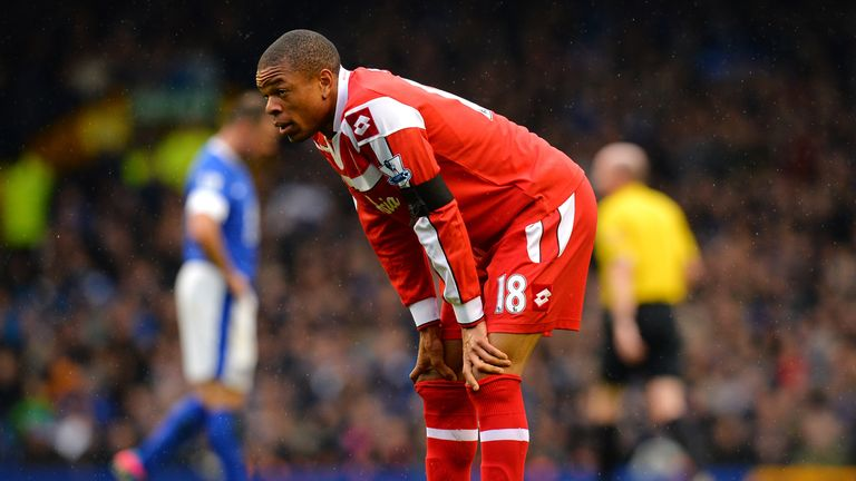 Queens Park Rangers' French striker Loic Remy reacts during the English Premier League football match between Everton and Queens Park Rangers at Goodison Park