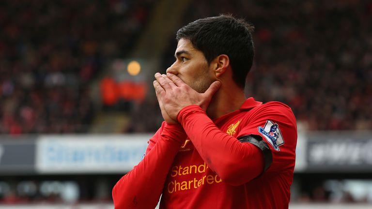Luis Suarez reacts during the Premier League match between Liverpool and West Ham United.